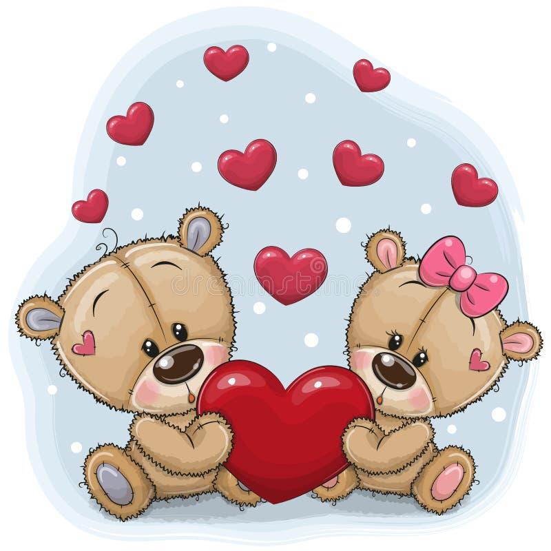 Teddy Bears bonito com coração ilustração do vetor