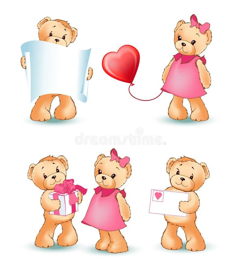 Teddy Bears Collection Love Vector illustration vektor illustrationer