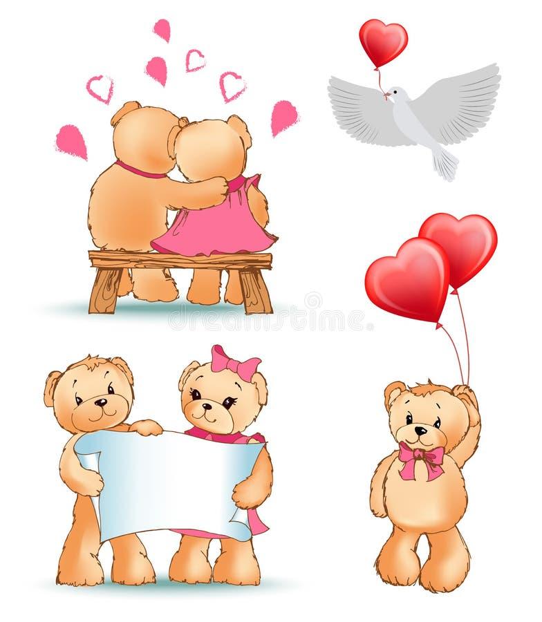 Teddy Bears Collection Love Vector illustration stock illustrationer