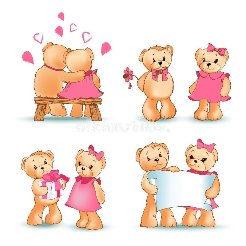 Teddy Bears Collection Love Vector illustration royaltyfri illustrationer