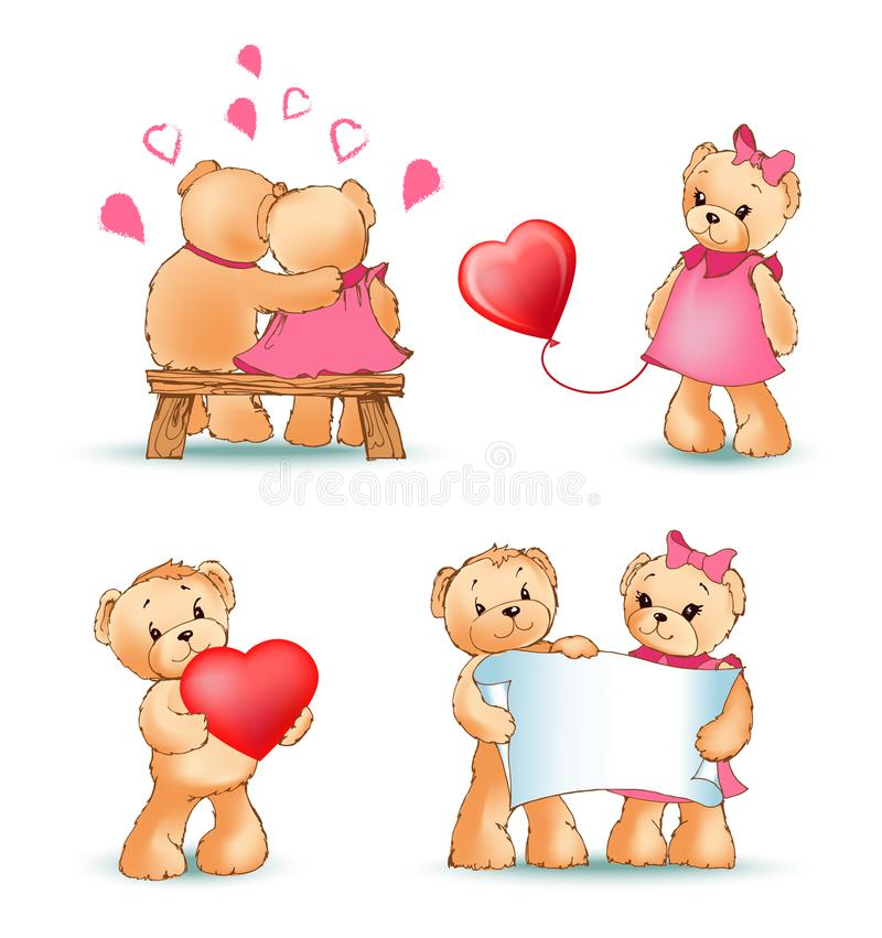 Teddy Bears Collection Love Vector illustration stock illustrationer