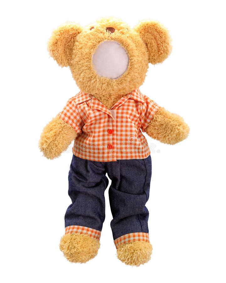 Teddy bears doll isolated on white background. Bear`s doll in blue jeans uniform. Blank face toy for design. Dolls royalty free stock photography
