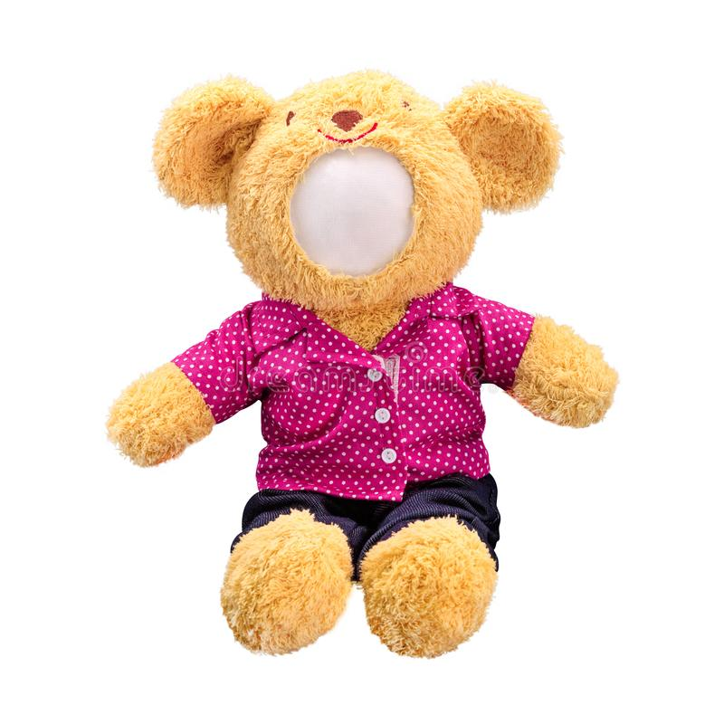 Teddy bears doll isolated on white background. Bear`s doll in pink uniform. Blank face toy for design. Bear royalty free stock images