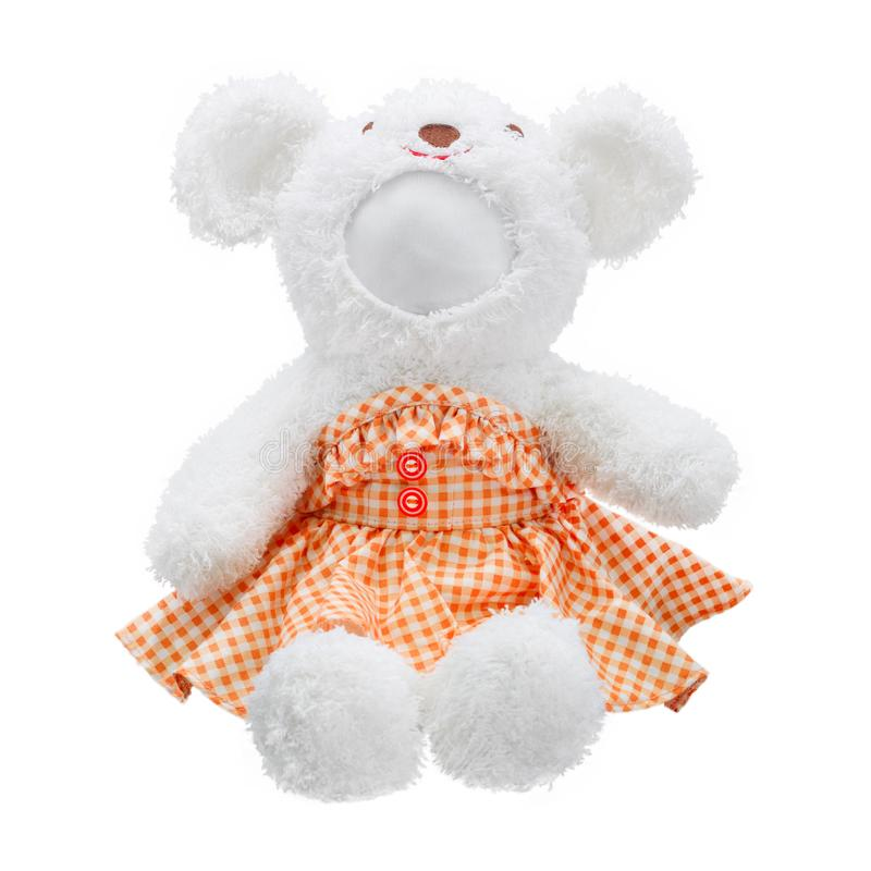 Teddy bears doll isolated on white background. Bear`s doll in orange dress uniform. Blank face toy for design. Dolls stock photography