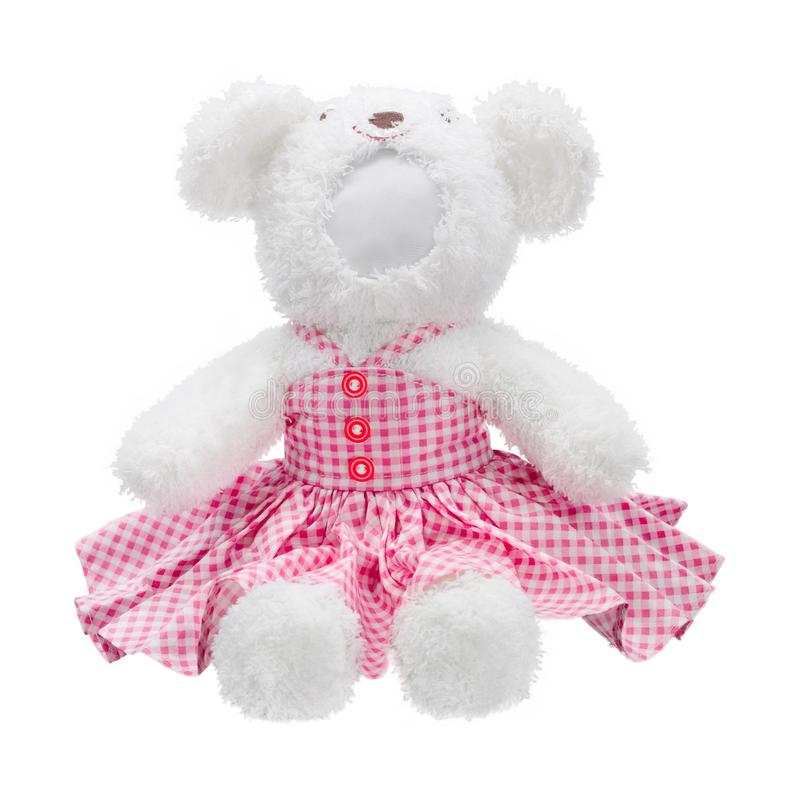 Teddy bears doll isolated on white background. Bear`s doll in pink uniform. Blank face toy for design. Dolls stock photo