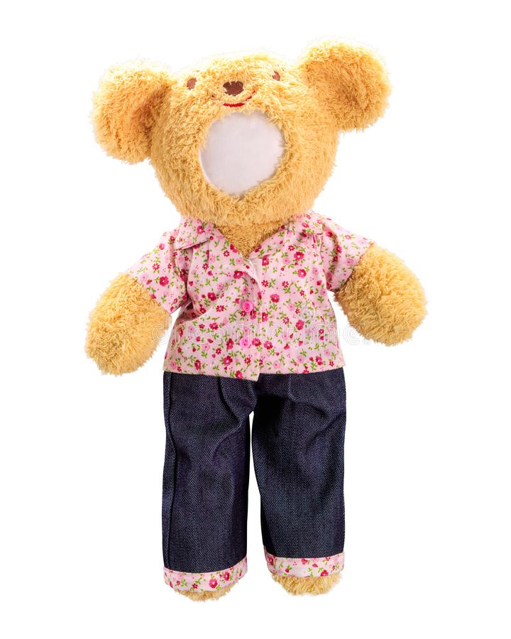 Teddy bears doll isolated on white background. Bear doll in pink uniform. Blank face toy for design. Doll royalty free stock images