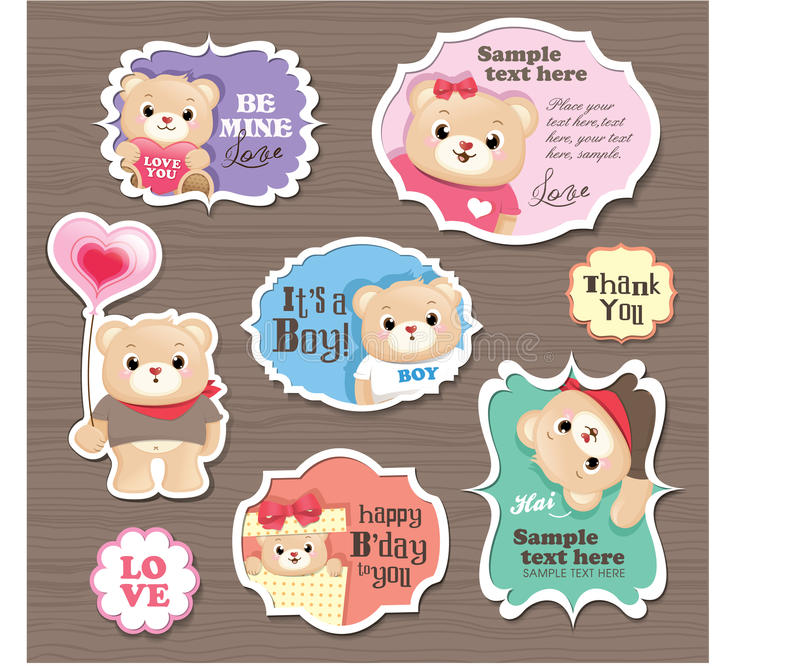 Download Teddy Bears gift tag stock vector. Illustration of father - 23848762