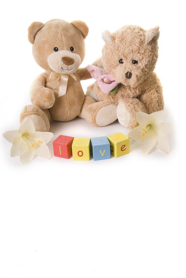 Teddy bears in love stock photo