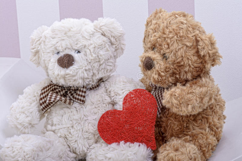 Teddy bears love. With heart stock images