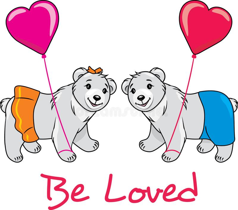 Teddy bears in love. Postcard royalty free stock image