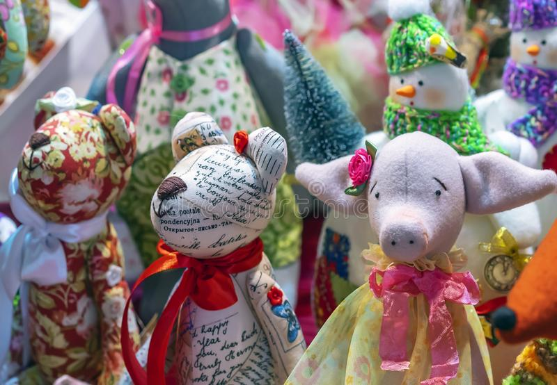 Teddy bears and piggy. Soft toys on the counter of the store royalty free stock images