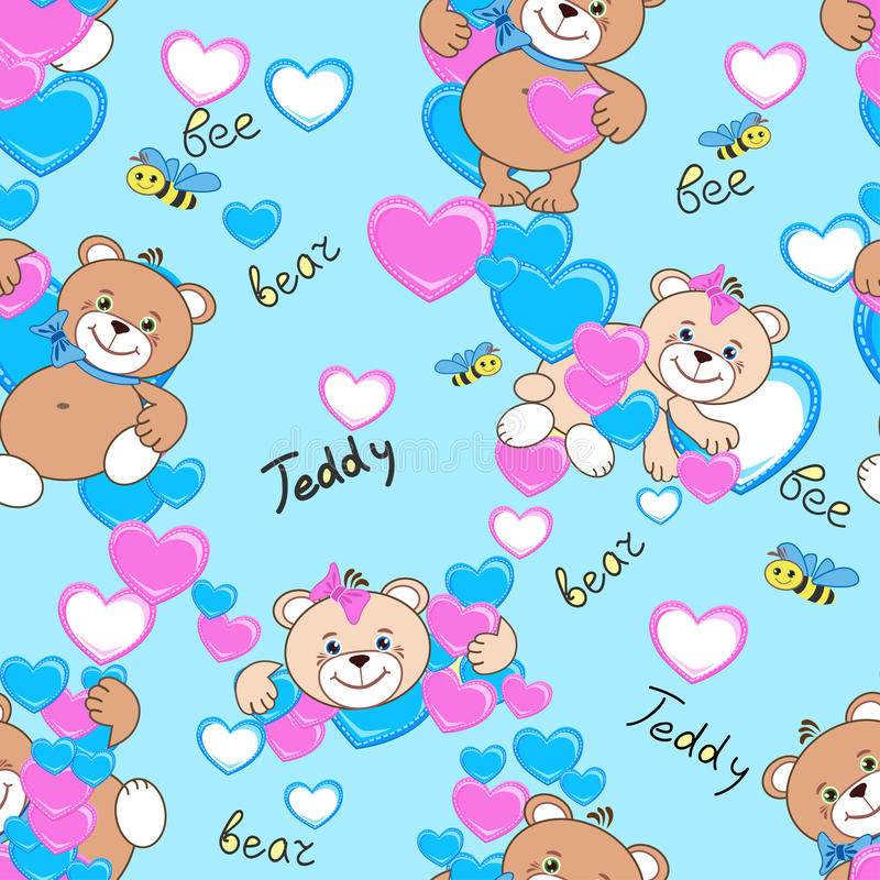 Teddy bears seamless pattern stock photography