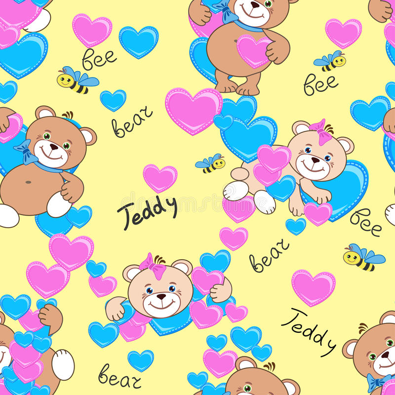Teddy bears seamless pattern royalty free stock photos