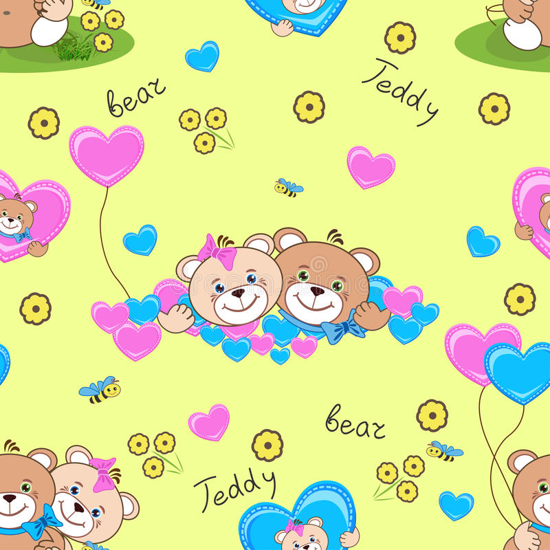 Teddy bears seamless pattern royalty free stock images