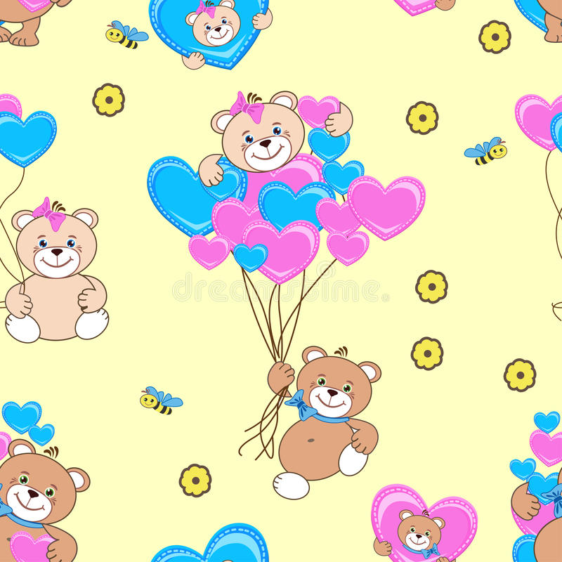 Teddy bears seamless pattern stock photo