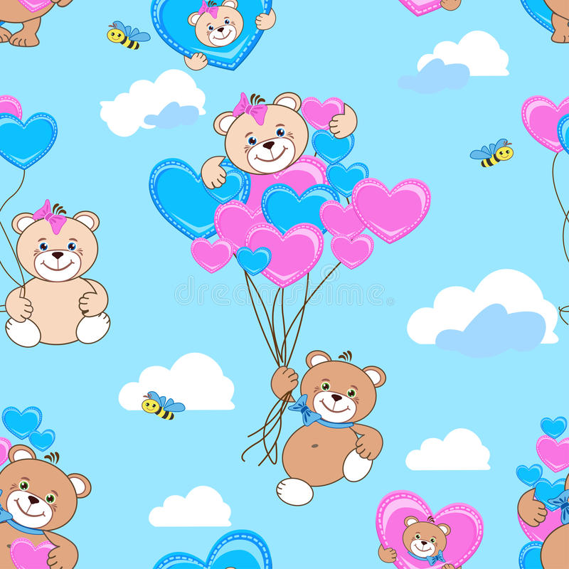Teddy bears seamless pattern stock images