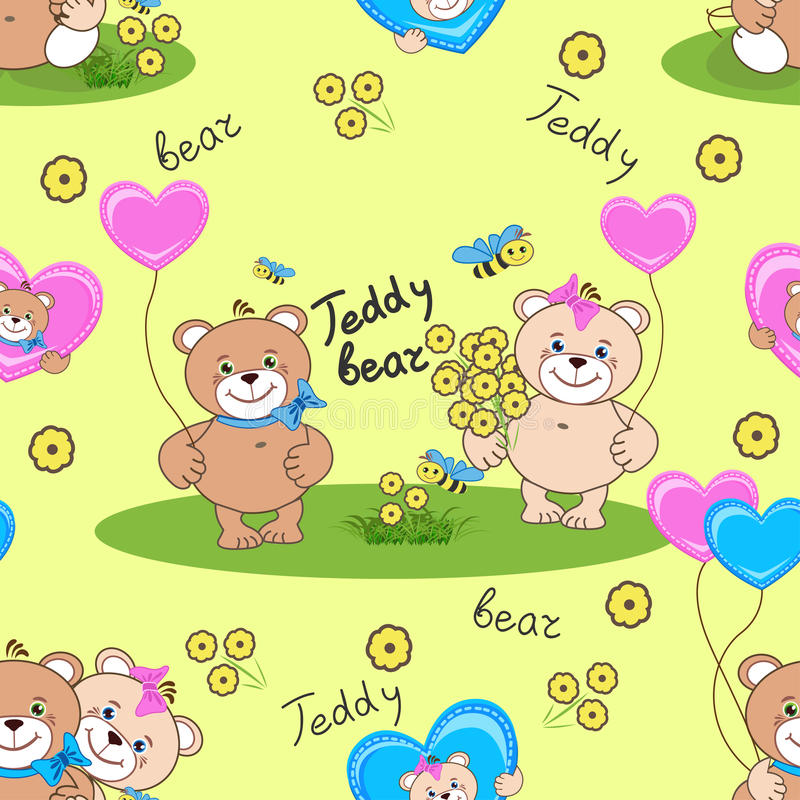 Teddy bears seamless pattern royalty free stock image