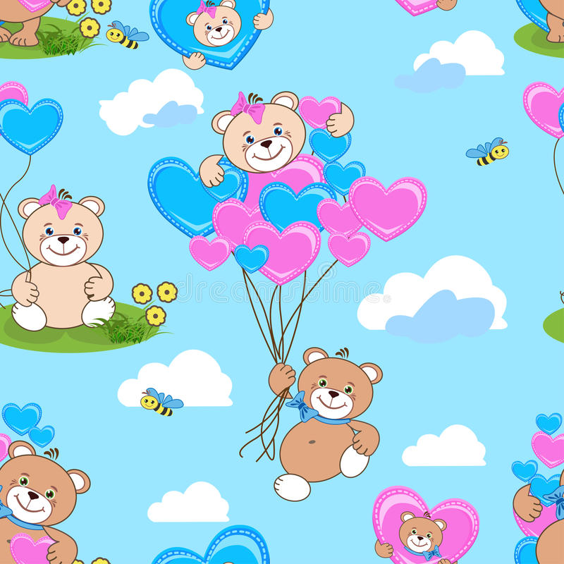 Teddy bears seamless pattern royalty free stock photo