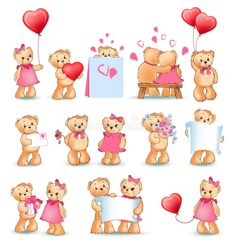 Teddy Bears Set Valentine Vector illustration vektor illustrationer