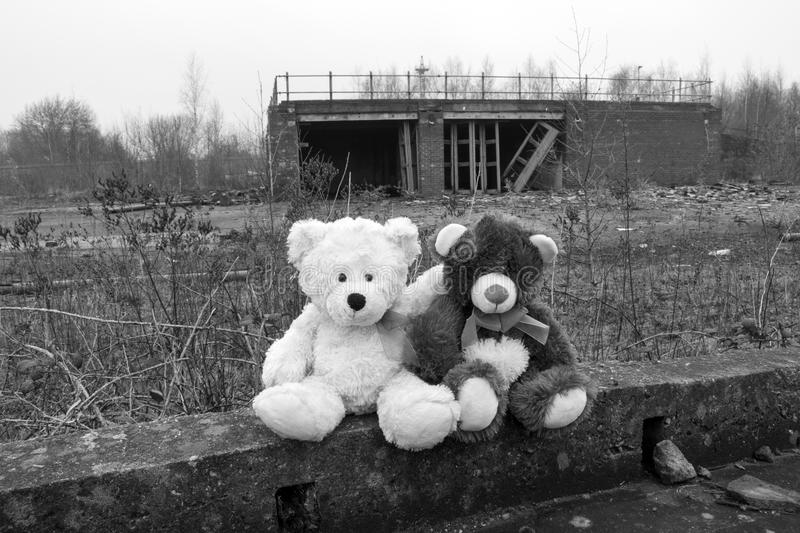 Teddy Bears Sitting In Derelict Fire Station Yard In Black & White. Teddy Bears Sitting In Derelict Abandoned Fire Station Yard In Black & White royalty free stock image