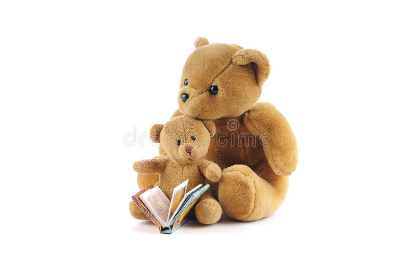 Teddy bears and a story book. On a white background stock photo