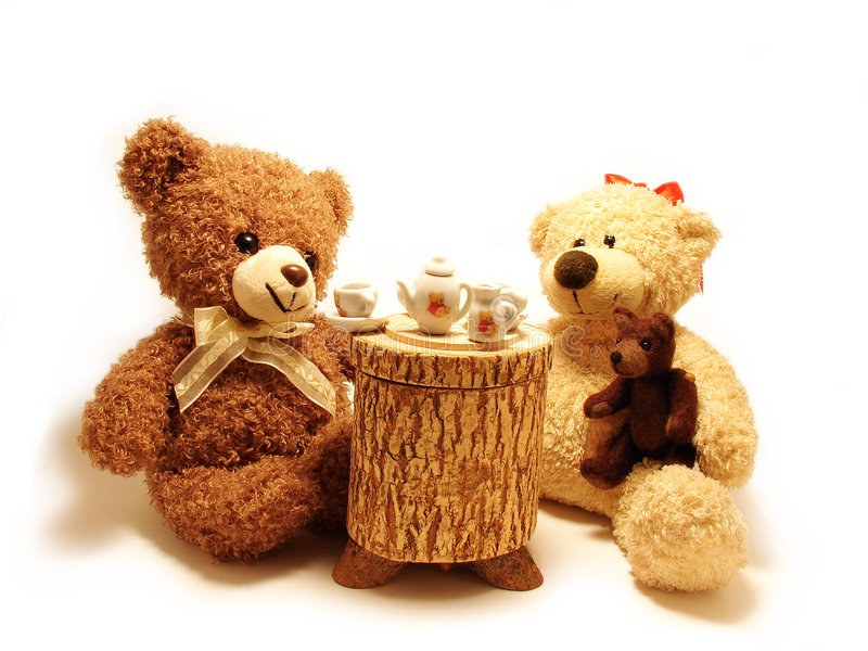 Teddy bears tea-party stock images
