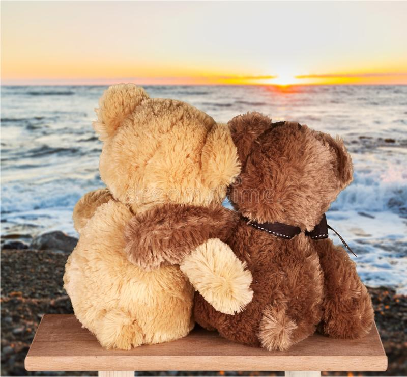 Teddy Bears. Toy Embracing Fluffy Family Childhood Gift stock photos