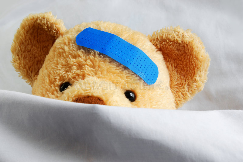 Teddy in Bed stock image
