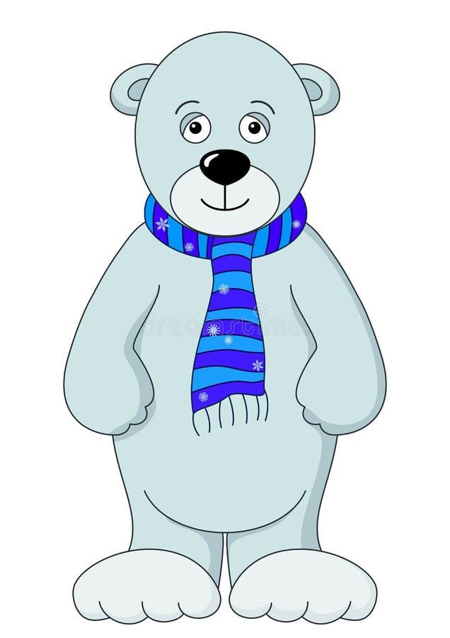 Teddy-beer wit in een sjaal royalty-vrije illustratie