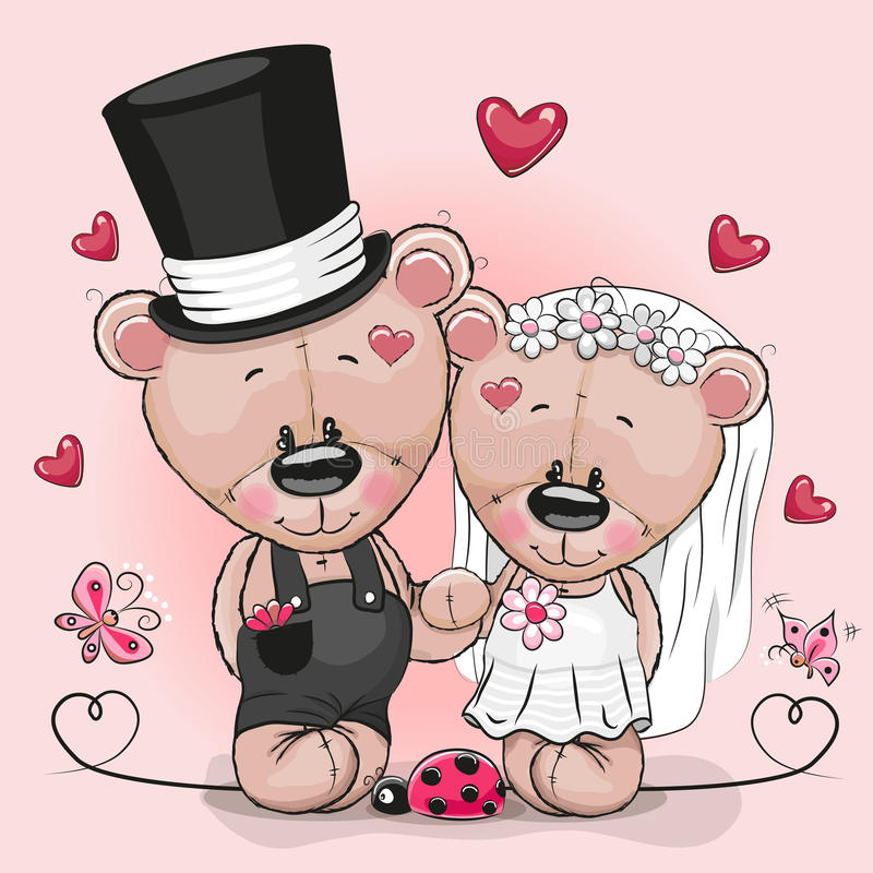 Teddy Bride and Teddy groom on a pink background vector illustration