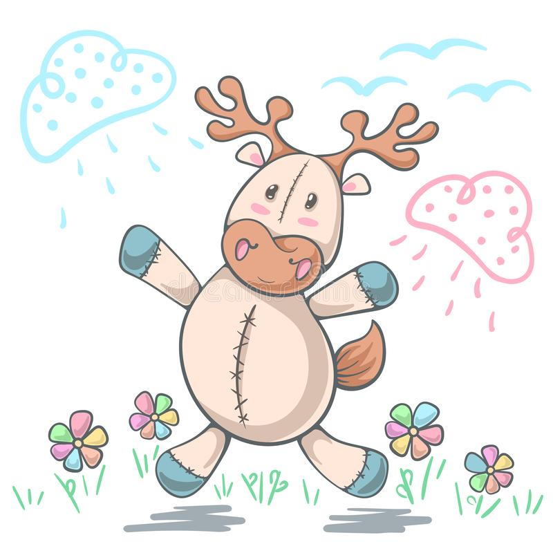 Teddy deer love - cartoon funny illustration. royalty free illustration