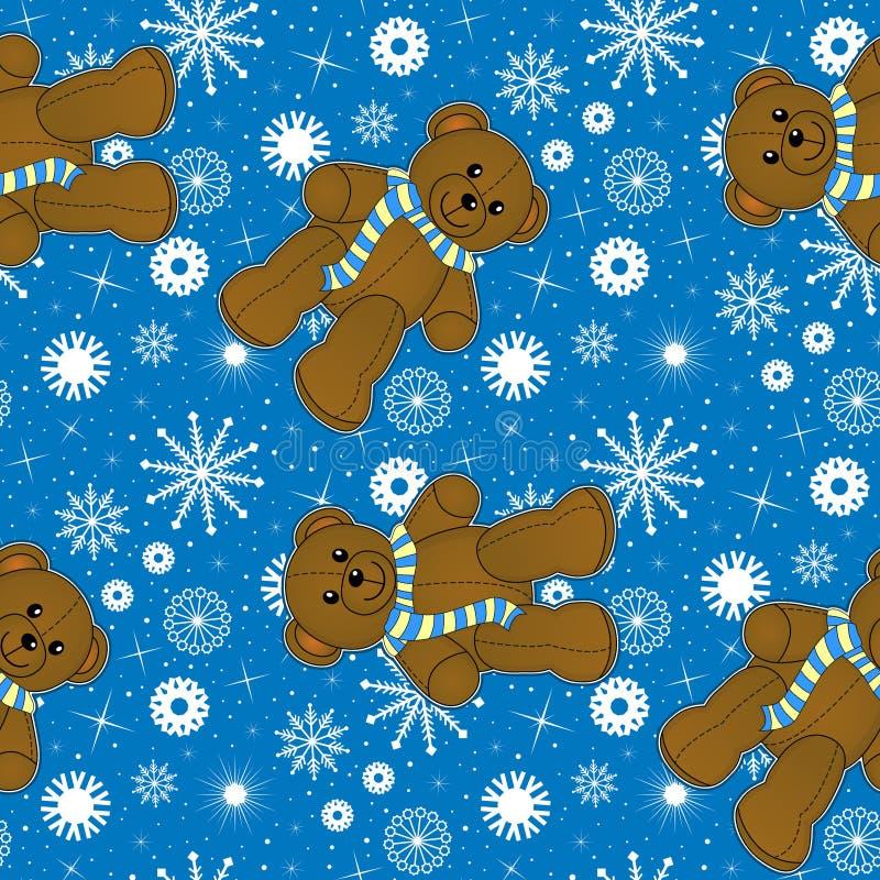 teddy en sneeuwvlokkentextuur royalty-vrije illustratie