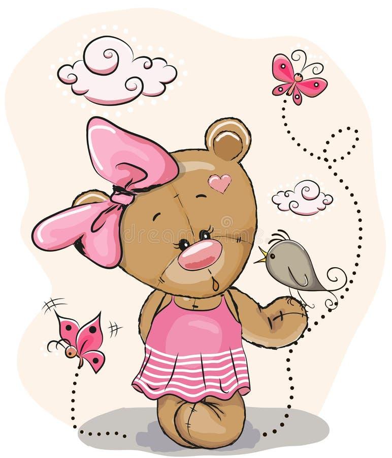 Teddy Girl e pássaro ilustração do vetor