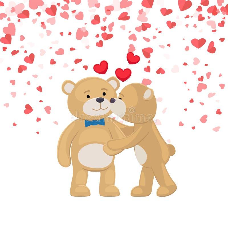 Teddy Girl Kissing e aperto do vetor do cartão do menino ilustração royalty free