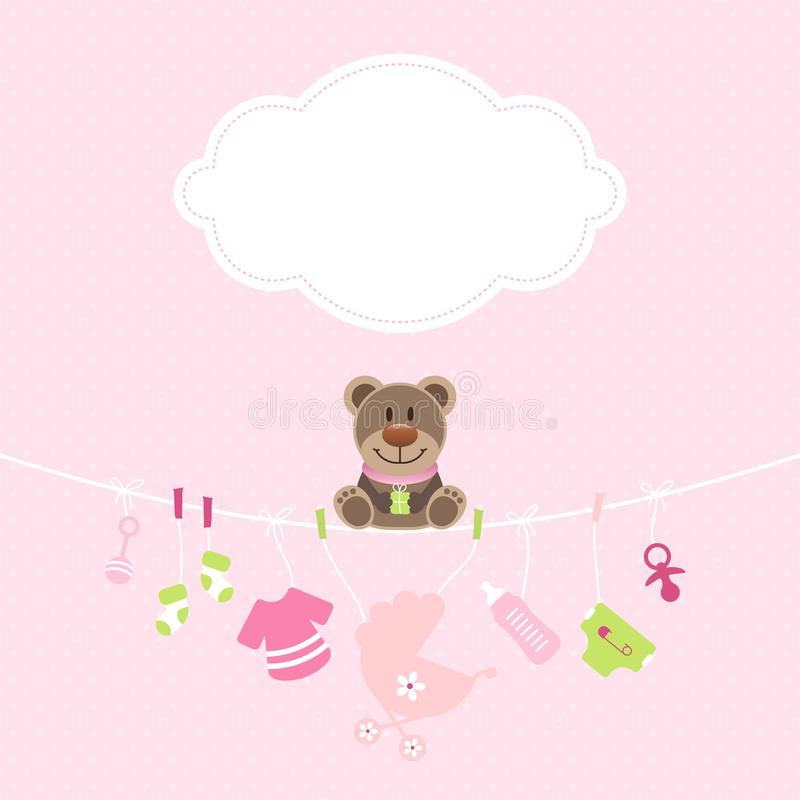 Teddy Hanging Baby Icons Girl moln Dots Pink And Green royaltyfri illustrationer