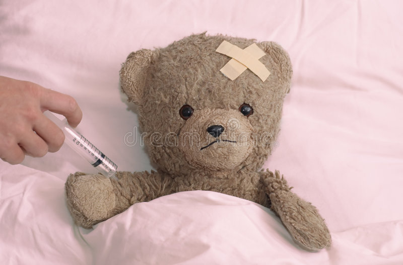 Teddy in hospital royalty free stock image