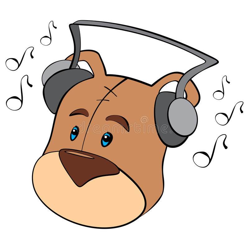 Teddy is listening stock illustration