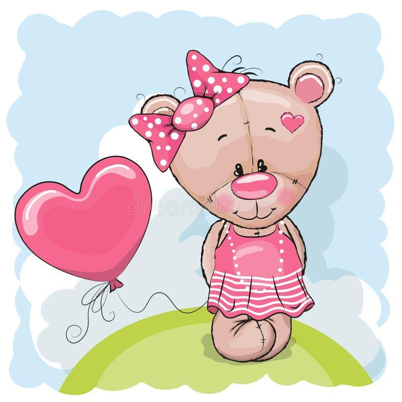 Teddy met ballons vector illustratie