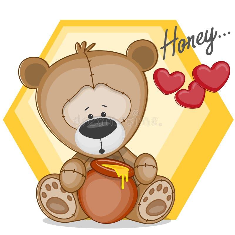 Teddy met honing stock illustratie