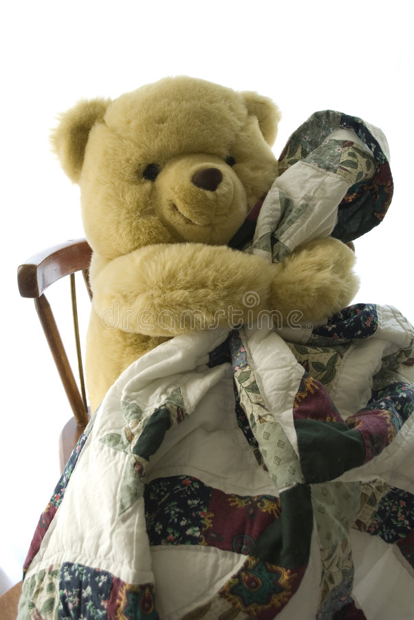Download Teddy 'n Blanky stock image. Image of isolated, cozy, white - 5820661