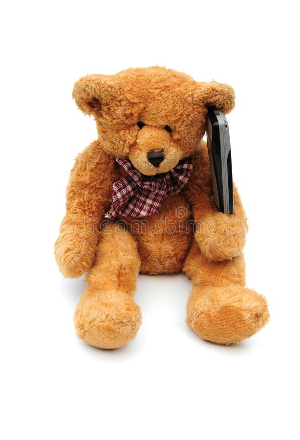 Free Teddy On A Mobile Phone Stock Photography - 7001012