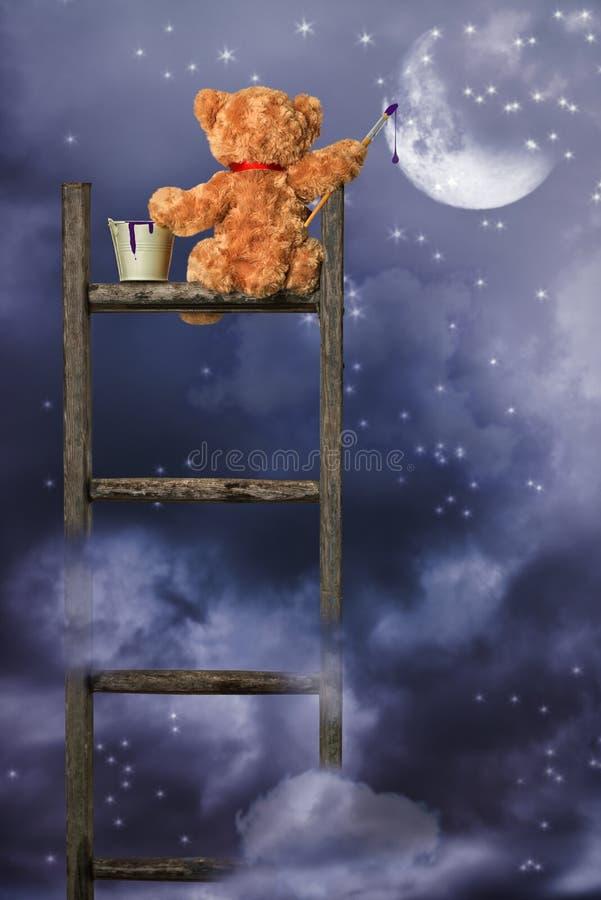 Teddy Painting At Night royaltyfri fotografi