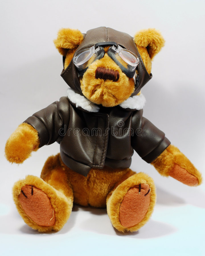 Teddy Pilot Bear. This is a shot of a Teddy Bear dressed up as a pilot stock images