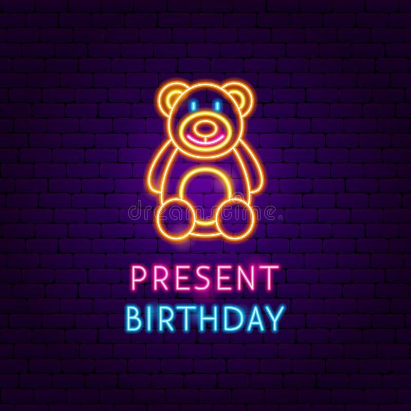 Teddy Present Birthday Neon Label stock illustrationer