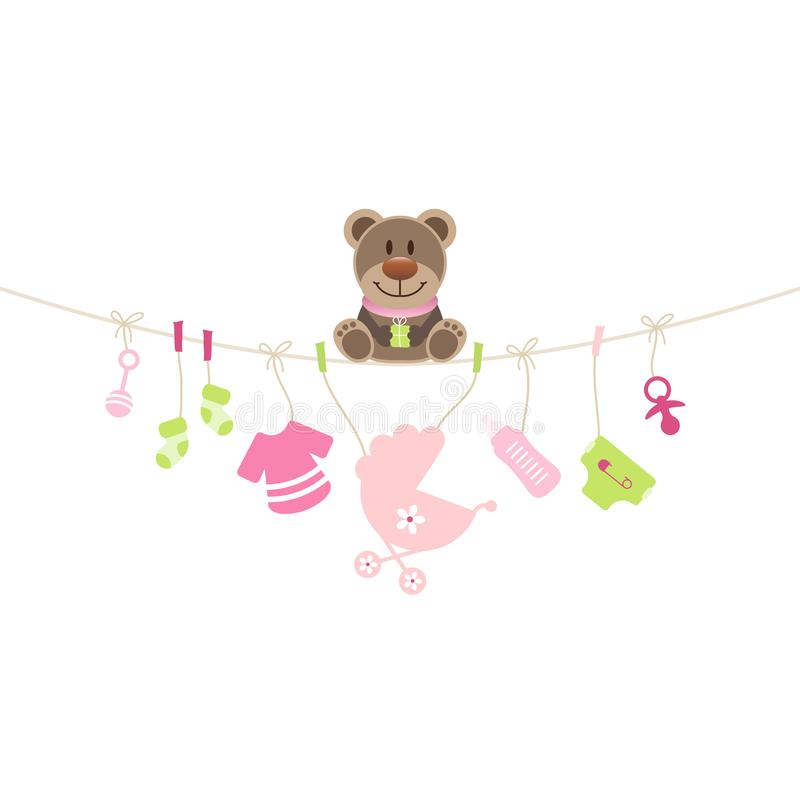 Teddy Sitting On String Curve With Hanging Baby Icons Girl royalty free illustration