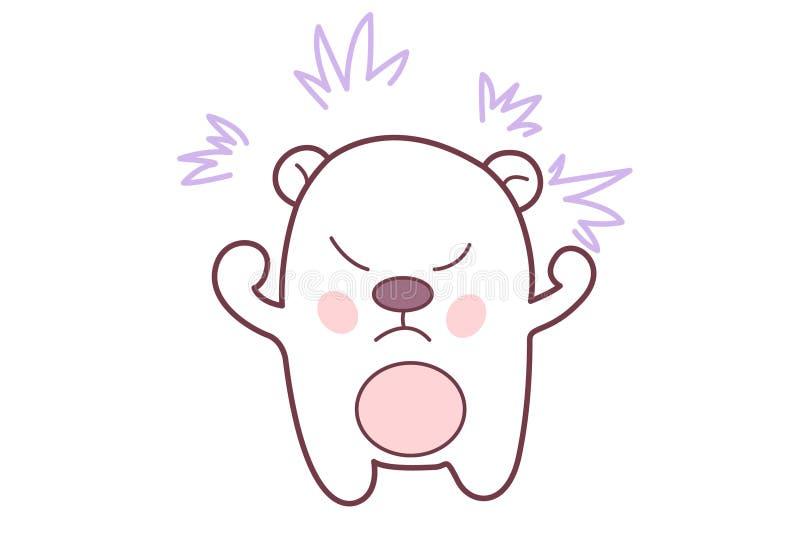 Teddy Sticker Furious sveglio illustrazione vettoriale