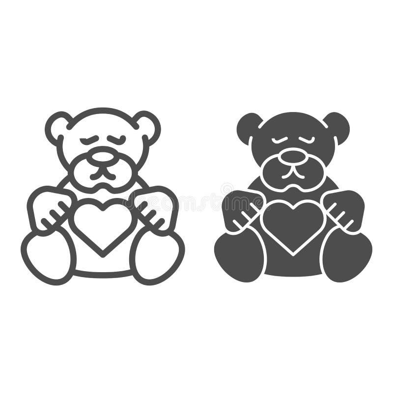 Teddybärlinie und Glyphikone Plüschspielzeug-Vektorillustration lokalisiert auf Weiß Kinderspielzeugentwurfs-Artentwurf, entworfe lizenzfreie abbildung