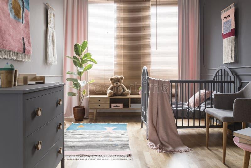 Teddybär betreffen hölzernen Schrank nahe bei Ficus in Kind-` s Schlafzimmer I stockfotografie