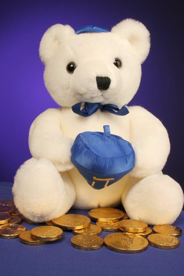 Teddybär betriebsbereit zu Hanukkah lizenzfreies stockbild