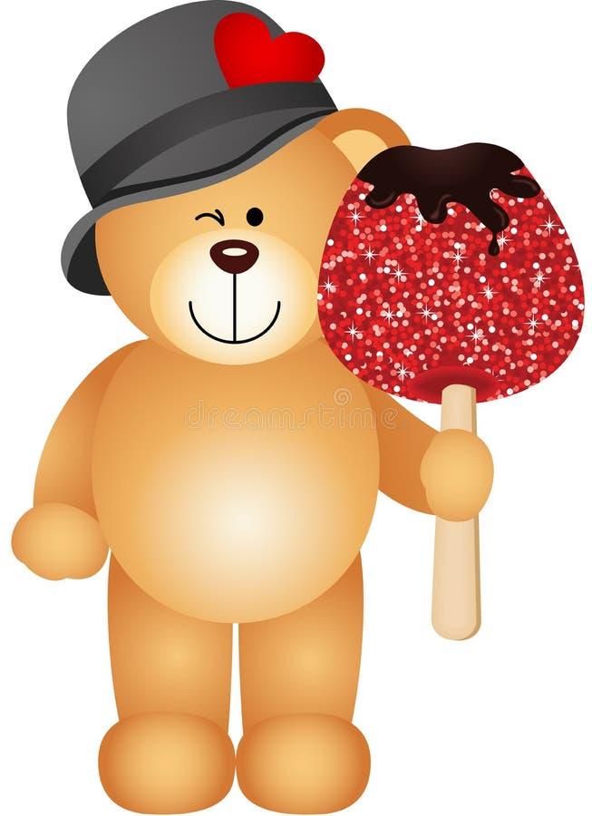 Teddybär, der kandierten Apfel hält vektor abbildung